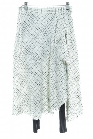 Zara Basic Broomstick Skirt white-black check pattern