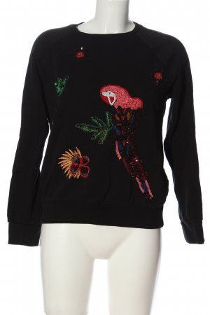 Zara Basic Sweatshirt schwarz Motivdruck Casual-Look