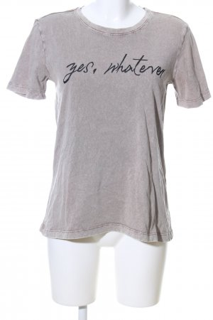 Zara Basic T-Shirt hellgrau-schwarz meliert Casual-Look
