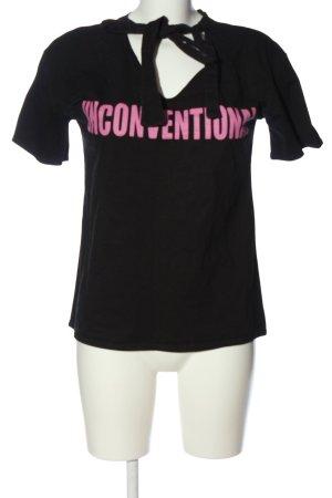 Zara Basic T-Shirt schwarz-pink Schriftzug gedruckt Casual-Look