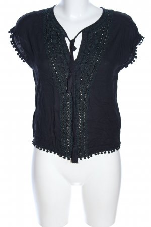 Zara Basic T-Shirt schwarz-khaki Elegant