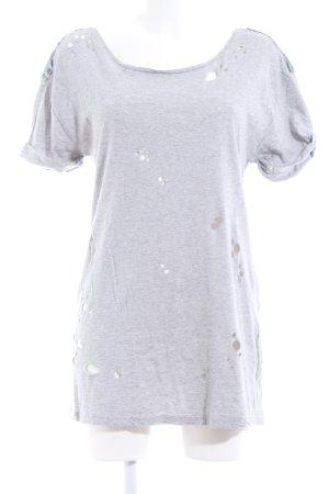 Zara Basic T-Shirt hellgrau meliert Casual-Look