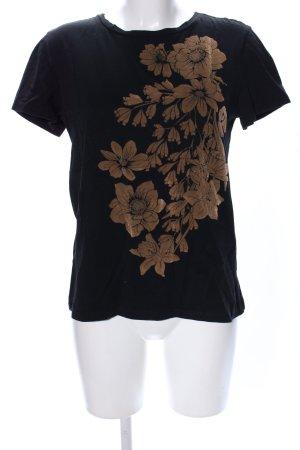 Zara Basic T-Shirt schwarz-braun Blumenmuster Casual-Look