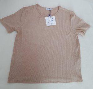 Zara Basic T-Shirt beige cremefarben Gr. L