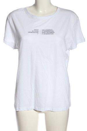 Zara Basic T-Shirt weiß-schwarz Schriftzug gedruckt Casual-Look