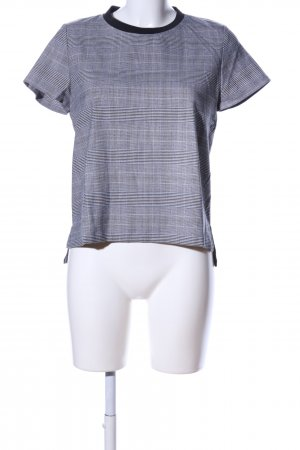Zara Basic T-Shirt hellgrau-schwarz Karomuster Casual-Look