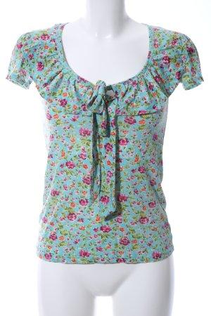 Zara Basic T-Shirt türkis-pink Blumenmuster Casual-Look