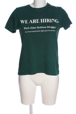 Zara Basic T-Shirt khaki-weiß Schriftzug gedruckt Casual-Look