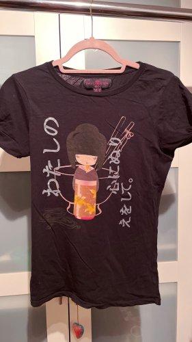 Zara Basic T-Shirt mit japanischen Motiv