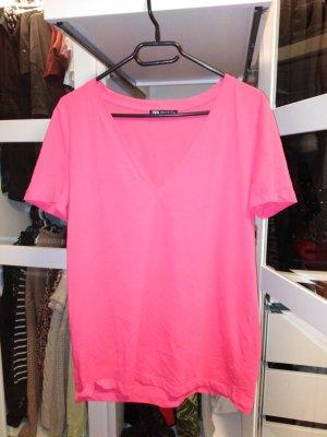 Zara basic t-shirt v-ausschnitt pink *neu*