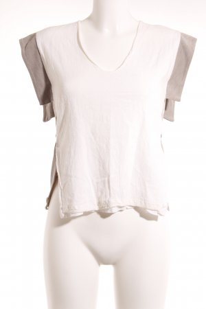 Zara Basic T-Shirt wollweiß-graubraun Casual-Look