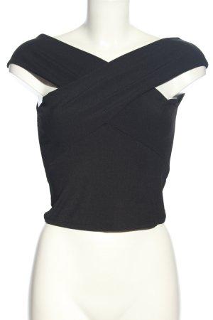 Zara Basic Top schwarz Streifenmuster Elegant