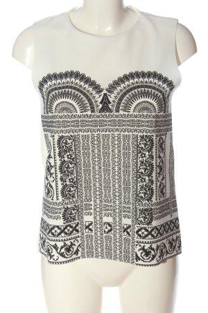 Zara Basic Top weiß-schwarz grafisches Muster Casual-Look
