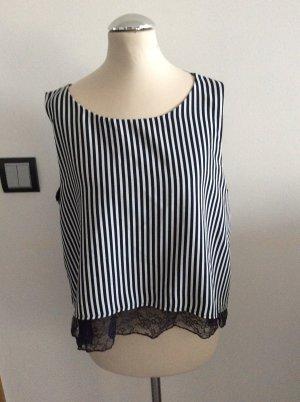 Zara Basic Camisa recortada blanco-azul oscuro