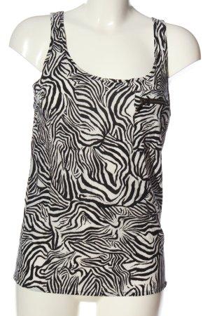 Zara Basic Top weiß-schwarz abstraktes Muster Casual-Look