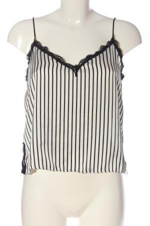 Zara Basic Trägertop weiß-schwarz Allover-Druck Elegant
