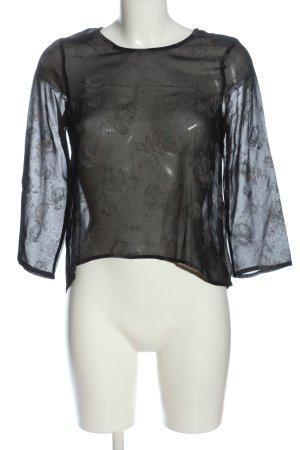 Zara Basic Transparenz-Bluse schwarz Blumenmuster klassischer Stil