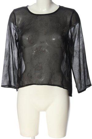 Zara Basic Transparenz-Bluse schwarz Blumenmuster Elegant