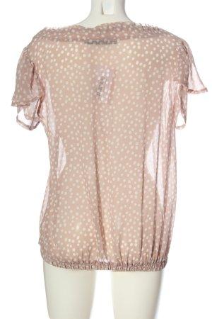 Zara Basic Transparenz-Bluse pink-weiß Punktemuster klassischer Stil