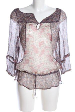 Zara Basic Transparenz-Bluse braun-rot Allover-Druck Casual-Look