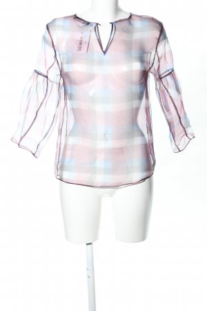 Zara Basic Transparenz-Bluse Karomuster Elegant