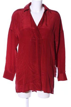 Zara Basic Transparenz-Bluse rot Casual-Look