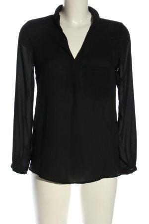 Zara Basic Transparenz-Bluse schwarz Business-Look