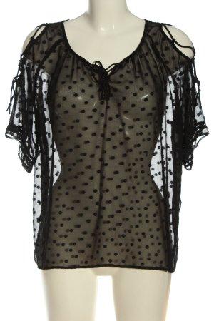 Zara Basic Transparenz-Bluse schwarz Punktemuster Casual-Look
