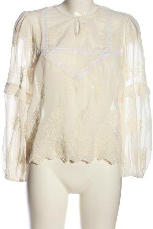 Zara Basic Transparenz-Bluse creme abstraktes Muster Casual-Look