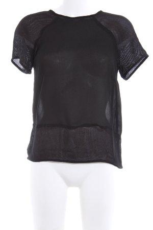 Zara Basic Transparenz-Bluse schwarz Party-Look