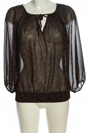 Zara Basic Transparenz-Bluse braun-schwarz Leomuster Casual-Look