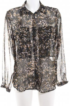 Zara Basic Transparenz-Bluse Camouflagemuster Casual-Look
