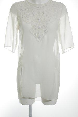 Zara Basic Transparenz-Bluse creme klassischer Stil