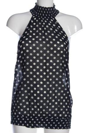 Zara Basic Transparenz-Bluse schwarz-weiß Punktemuster Casual-Look
