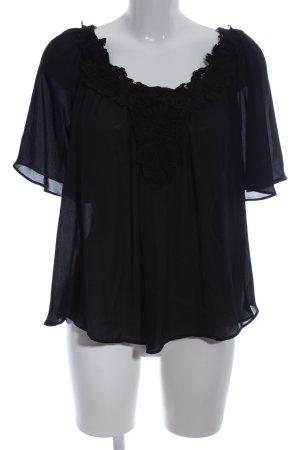 Zara Basic Transparenz-Bluse schwarz Elegant