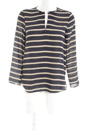 Zara Basic Transparenz-Bluse schwarz-creme Streifenmuster Casual-Look