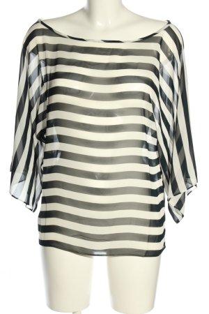 Zara Basic Transparenz-Bluse schwarz-weiß Streifenmuster Casual-Look