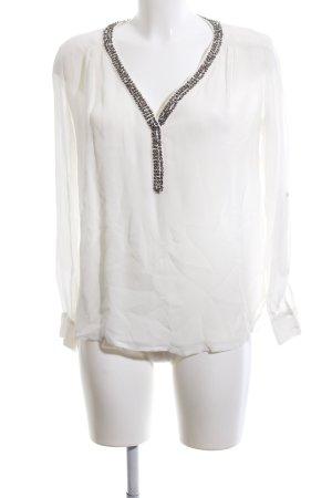 Zara Basic Tunikabluse weiß-schwarz Casual-Look