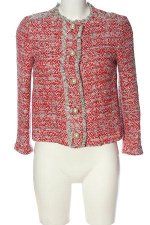 Zara Basic Tweedblazer hellgrau-rot meliert Casual-Look