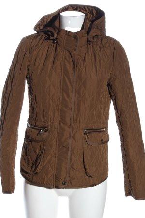 Zara Basic Kurtka przejściowa brązowy Pikowany wzór W stylu casual
