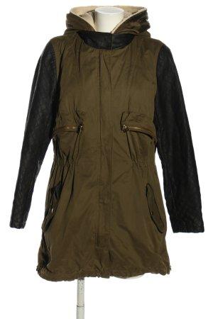 Zara Basic Übergangsjacke khaki-schwarz Steppmuster Casual-Look