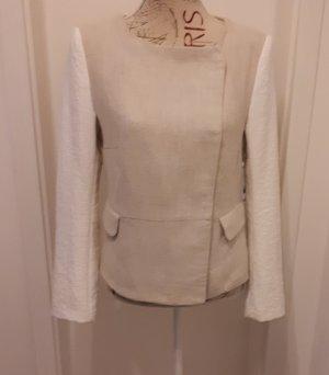 Zara Basic Kurtka przejściowa jasnobeżowy-w kolorze białej wełny Len