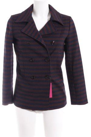 Zara Basic Übergangsjacke dunkelblau-rostrot Streifenmuster Elegant