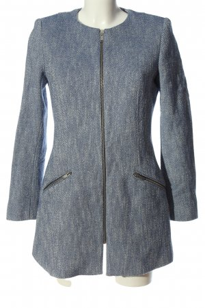 Zara Basic Übergangsjacke blau-weiß Allover-Druck Business-Look