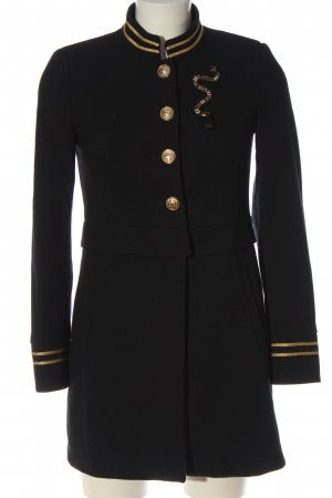 Zara Basic Abrigo de entretiempo negro-color oro estampado a rayas look casual