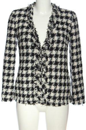 Zara Basic Kurz-Blazer schwarz-weiß Karomuster Casual-Look