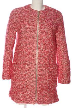 Zara Basic Übergangsmantel rot-creme Allover-Druck Casual-Look