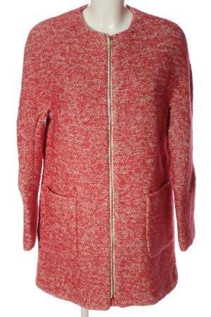 Zara Basic Übergangsmantel rot-wollweiß meliert Casual-Look