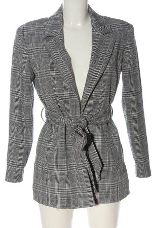 Zara Basic Long-Blazer schwarz-weiß Karomuster Casual-Look