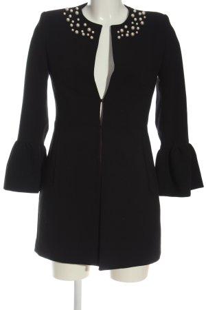 Zara Basic Übergangsmantel schwarz-wollweiß Business-Look
